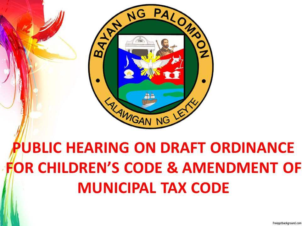 Public Hearing on Draft Ordinance for Children's Code & Amendment of Municipal Tax Code