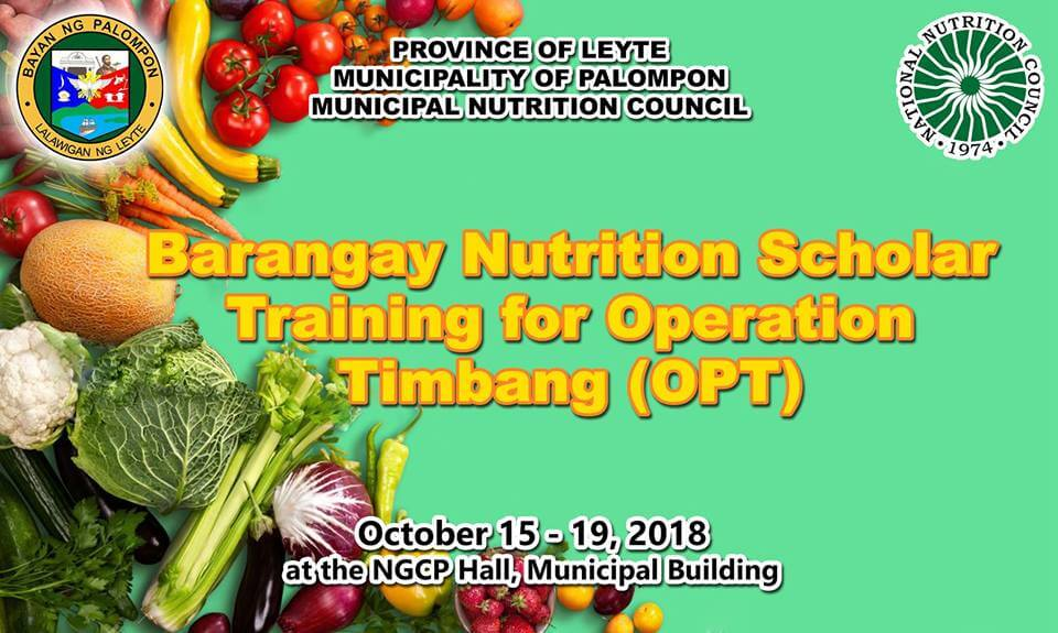 Barangay Nutrition Scholar Training for Operation Timbang (OPT)