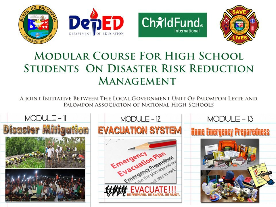 Module 11 – Disaster Migration, Module 13 – Evacuation Center and Module 13 – Home Emergency Preparedness