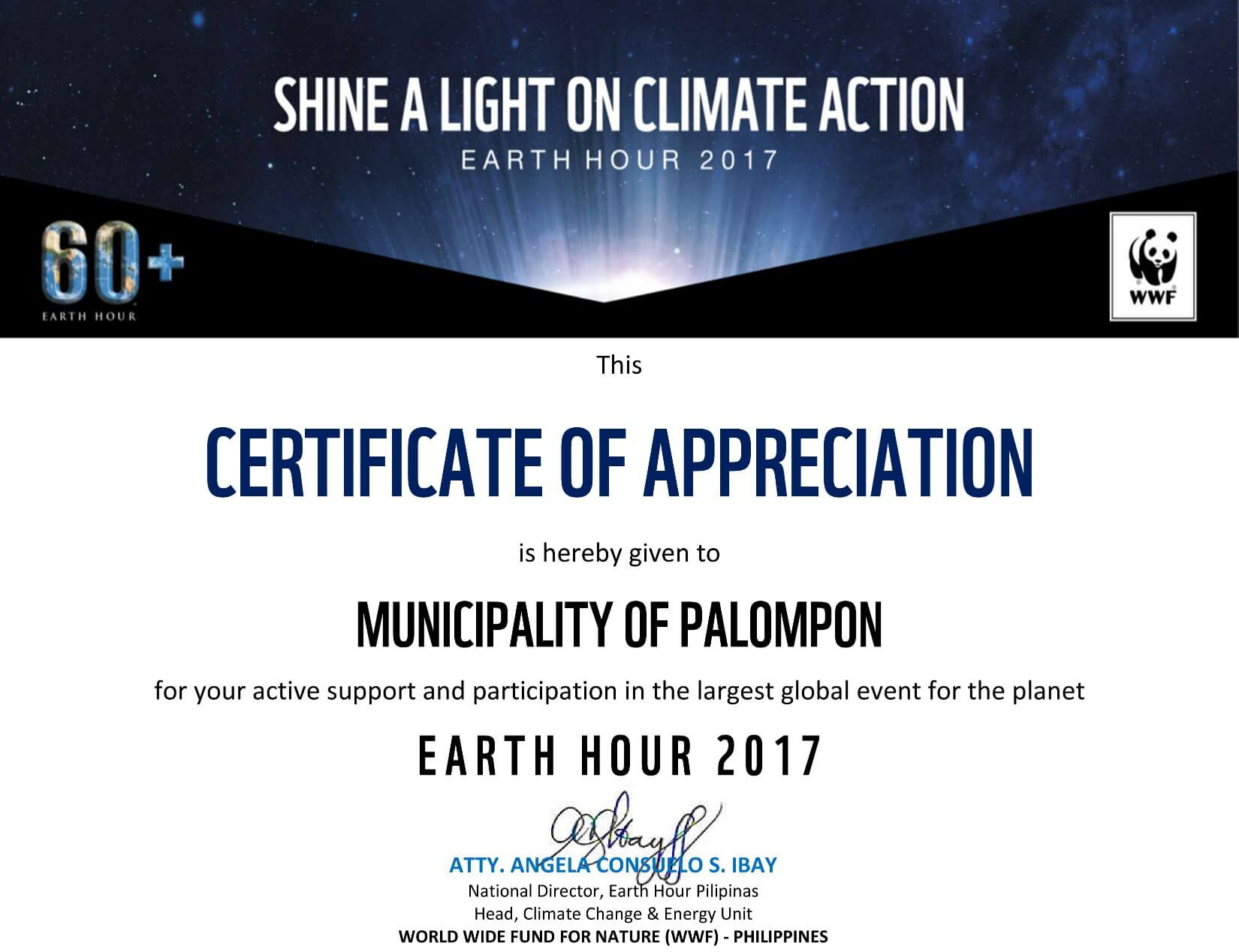 "Congratulations to Palompon ! Our undeniable help in spreading the world-wide ""Shine a light on Climate Action"" thru our local Earth Hour 2017 celebration"